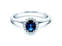 Saphirring Windsor 0,60 ct mit Diamant 0,12 ct 18k WG