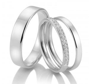 Set Trauringe Breuning mit Memoire-Ring 48/04718 Platin
