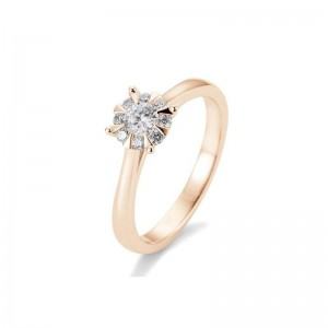 Solitärring 585 oder 750 Rosegold Diamanten Bouguetfassung 0,39 ct.
