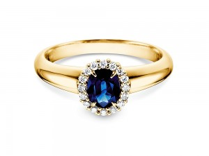 Saphir Ring 0,60 ct mit Diamanten 0,12 ct Verlobungsring